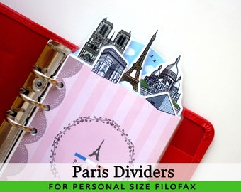 Personal Size Cute Kawaii DIY Paris Dividers 5 Top Tabs for Filofax Organizer Planner Printable PDF Instant Download