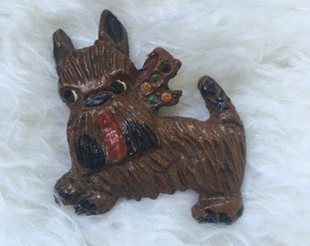 Vintage Dog Brooch Jewelry with rhinestones