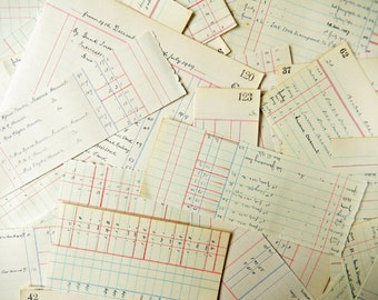Vintage Ledger Book Paper Pieces, Paper Ephemera, Collage, Mixed Media, Scrapbooking PE403