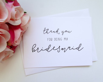 Bridesmaid Card | Thank You for Being My Bridesmaid Card | Folded A6 Card & Envelope