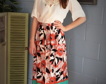 Abstract Floral Print Skirt / Rust and Black Handmade Midi-Skirt, Size 6