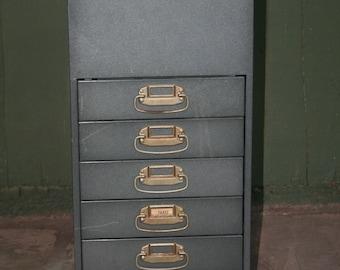Vintage Industrial Portable Metal File Cabinet