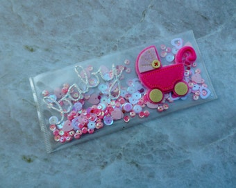 Baby Girl Shaker Money Holder -- Money Pouch -- Shaker Card -- Money Gift -- Money Gift