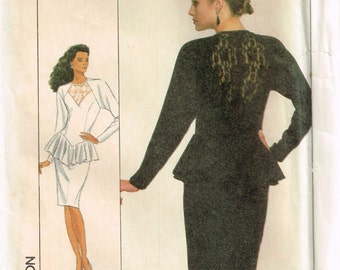 8952 simplicity misses dress with lace insert on bodice, raglan sleeves, peplum, and slit sewing pattern size 14 bust 36 vintage 1980s uncut
