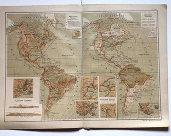 old vintage  map of America -