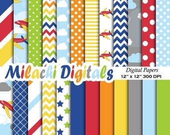 60% OFF SALE Airplane digital paper, background, scrapbook papers, stripes, chevron, polka dots, clouds, airplanes, stars - M329