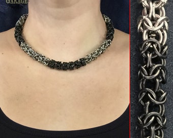 Turkish Round Choker - Black and White Stainless Steel - One of a kind