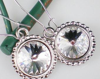 Crystal Rivoli Rhinestone Earrings  Jewelry