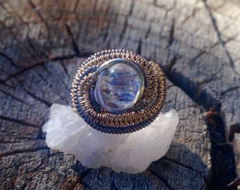 Moonstone 14ct Gold and Oxidized Sterling Silver Wirewrap Ring