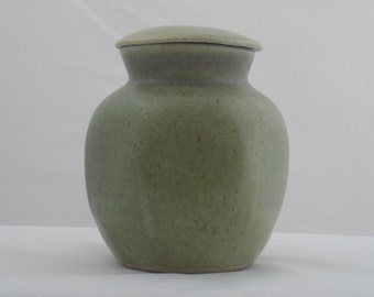 Studio pottery hexagonal lidded jar. Attractive and well made  green lidded pot by unidentified studio pottery.