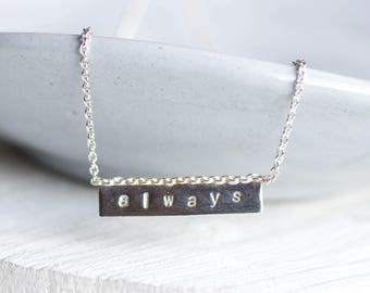 Personalized necklace, custom word sterling silver necklace, delicate bar necklace