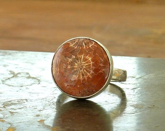 Fossilized Coral ring, Fossil Gemstone ring, Fossil Gemstone Petoskey Stone,Coral silver ring, Fossil coral round ring, OOAK Statement ring