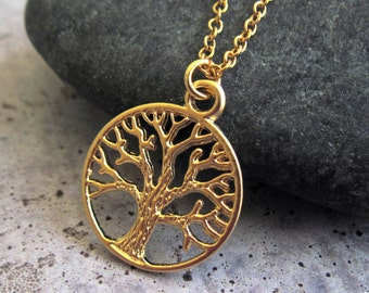 Gold Tree Necklace , Tree Of Life Necklace , Tree Of Life Pendant , Gold Necklace , Gift For Mom , Dainty Necklace , Family Tree Necklace