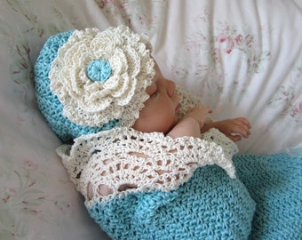 Crochet Baby Cocoon and Hat Pattern Photo Prop Pattern Seaside Cottage Snuggle Sack and Hat
