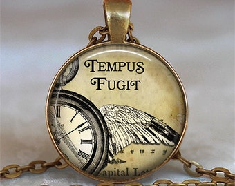Tempus Fugit necklace, Tempus Fugit pendant Time Flies steampunk jewelry steampunk necklace Latin quote jewelry key chain key fob key ring