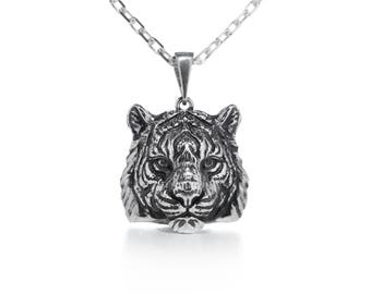 Tiger necklace Tiger jewelry Animal necklace Cat jewelry Cat pendant Wild cat jewelry Totem jewelry Silver tiger