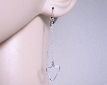 TRIANGLE hammered sterling silver long dangle earrings, modern, lightweight geometric earrings