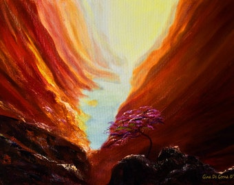"""The Red Canyon, Original Oil Painting on Canvas Board, Beautiful 24x18"""" Landscape, Artwork by Gina De Gorna for Home or Office Decor"""