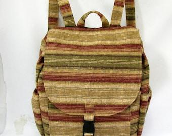 Large Backpack- Earth tone stripe canvas