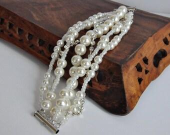 Pearl Christmas Gift,Vintage inspired ivory pearl bracelet Weddings Pearl Bracelet with Rhinestones brides bridesmaids