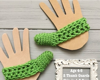 Ready to Ship - Set of 2 Thumb Guards - Green - Crocheted Cozy to Help Stop Thumb Sucking - Age 4-5