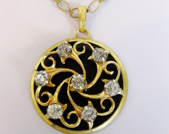 Vintage Round Rhinestone Black Enamel Pendant Necklace Jewelry | Pendant Jewellery  | Gold Tone Enamel Clear Rhinestone | Gift for Her