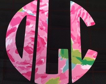 Lilly Pulitzer Monogram Decal, Lilly Pulitzer,  Car Decal, Monogram Decal, Personalize