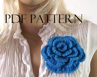 Crochet Flower PATTERN ROSE Brooch Pin Embellishment pdf pattern Instant Download Crochet Pattern