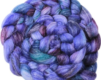 Wild Violets - hand-dyed Merino wool / bamboo / silk (4 oz.) combed top roving