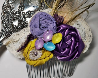 Vintage Inspired Purple and Chartreuse Green Lace Flower Hair Comb Fascinator