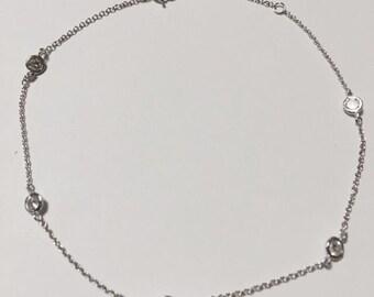 925 Sterling Silver CZ Anklet Bracelet