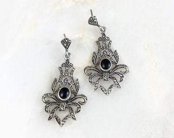 Vintage Sterling Marcasite Onyx Dangle Earrings