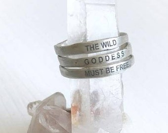 The Wild Goddess Quote Triple Stacking Rings