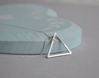 Sterling Silver Triangle Necklace | Open Triangle Geometric Necklace