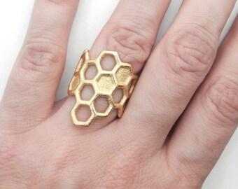 Anneau de nid d'abeilles (imprimé en 3D acier, bronze, or)