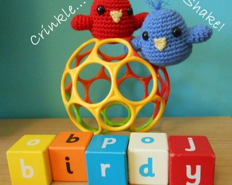 Crochet Pattern - Crinkle And Shake Birdy Toy