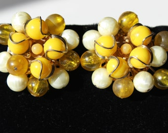 Beaded Earrings Vintage Yellow Balls Gold Tone Pearl Clip On Costume Jewelry Women's Clip on Earrings 1950's Costume Jewelry Cluster Earring