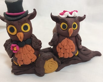 Owl Wedding Cake Topper Decoration - Custom Owl Figurine - Unique and Handmade Polymer Clay OOAK - Woodland Wedding - Rustic Wedding - Owls
