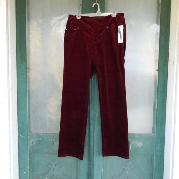 SALE - Jag Pull On Jeans -14- Deep Berry Red Corduroy Cotton Spandex NWT