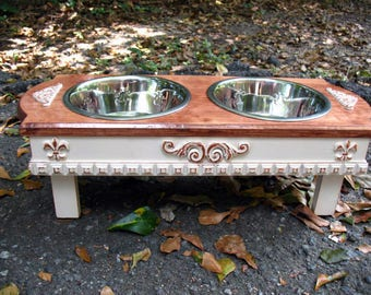 Elevated Dog Bowl Feeding Stand, Raised Pet Feeder, Dog Food Dish, Dog Bowl Holder, Pet Feeding Station, Two 2 Quart Bowls Made to Order