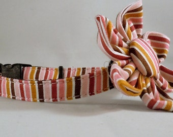Cat Collar or Kitten Collar with Flower or Bow Tie  - Sophie Stripes