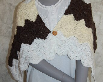 color white/yellow/pale grey hand crocheted shoulder warmer or shawl