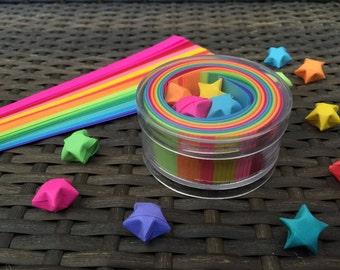 Origami Lucky Stars Paper Strips Kraft Kit, 100 Paper Strips, Rainbow Multicolor