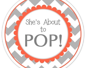 Baby Shower About to Pop labels, Coral and Chevron, About to Pop Stickers, Baby Shower Labels