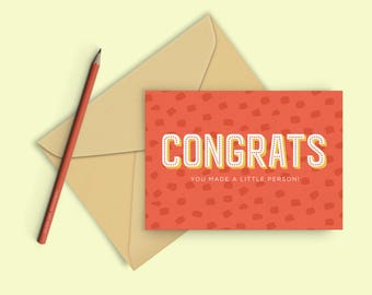 New Baby Card / Congratulations / You Made A Little Person / Funny New Baby Card