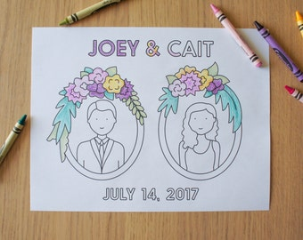 Wedding Coloring Sheet Printable - Frames with Personalized Bride and/or Groom