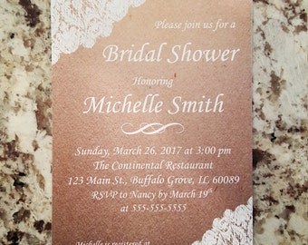 Printable Rustic Lace Bridal Shower Invites mmw001