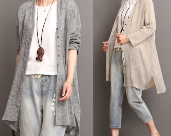 Loose casual linen top linen tunic long sleeve cotton blouse linen jacket oversized cotton top linen clothing plus size clothing women top