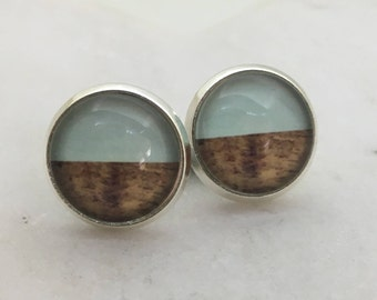 Blue and wooden glass dome stud earrings. 12mm with surgical steel and nickel free posts