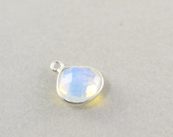Sterling Silver Opalite Charm, Silver Gemstone Triangle Charm, 10mm Stone Charm, One